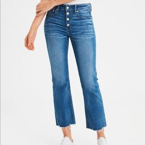 AEO high waisted cropped flare jeans